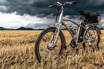a motorized bicycle in a field